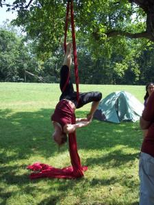 Meghan with aerial silks